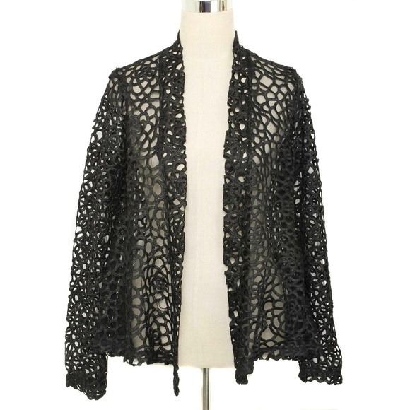 Dolce Cabo Jackets & Blazers - Dolce Cabo Black Mesh & Floral Duster Jacket